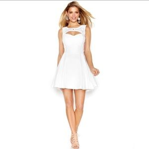 Guess Fit n Flare White Embellished Dress Size 0